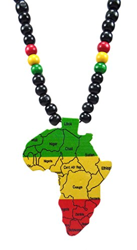 Africa Necklace – Wooden Rasta Necklace Africa Unite Jamaican Necklace (Africa)