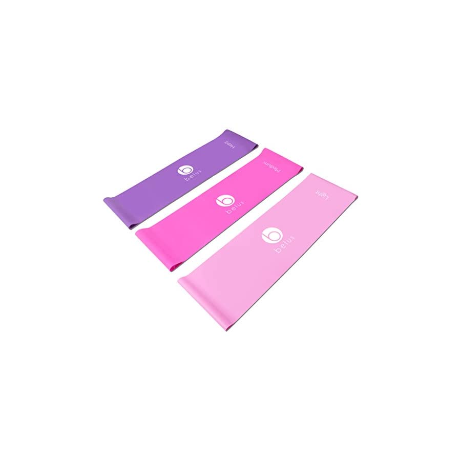 Belus Extra Long Exercise Bands by 6.5 ft Flat Resistance Bands. Includes Carry Bag, Video Download and Digital Guides. Versatile Home Fitness Equipment.