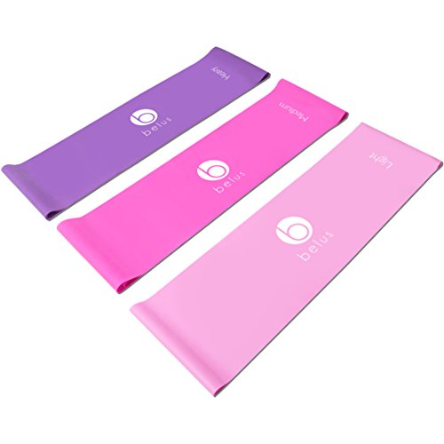 Extra Long Exercise Bands by Belus 6.5 ft Flat Resistance Bands. Includes Carry Bag, Video Download and Digital Guides. Versatile Home Fitness Equipment.