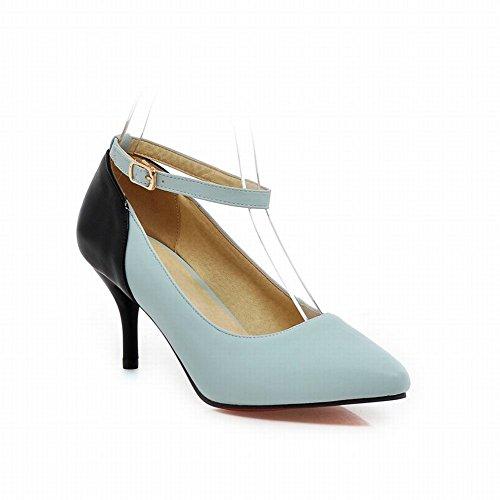 Latasa Femmes Élégant Cheville-sangle Mi-talon Pointu Chaussures Robe Chaussures Bleu