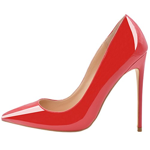 Lovirs Womens Red Patent Pointed Toe High Heel Slip On Stiletto Pumps Wedding Party Basic Shoes 6 M - Red Toe Pointed Heels Patent