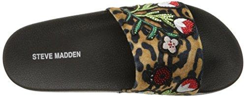 Steve Madden Womens Patches Flat Sandal Leopard Multi