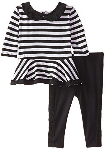 Nicole Miller Baby Girls Stripe Tunic Legging Set, Black, 12 Months (Nicole Spandex Tunic)