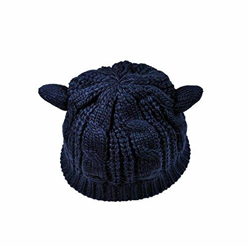 - Amberetech Cute Woollike Knitted CAT Kitty Ears Women Lady Girl Headgear Crochet Hats (deep blue)