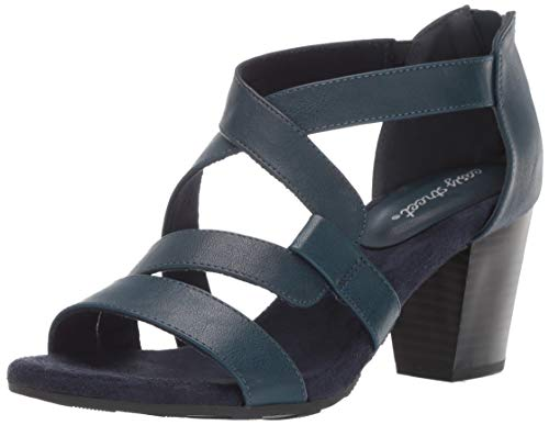 Easy Street Women's Amuse Dress Casual Sandal with Back Zipper Sandal, Navy, 5.5 M US