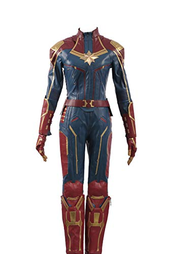 Captain Marvel Carol Danvers Superhero Cosplay Costume Leather Girl Outfit (X-Small Female, Red) -