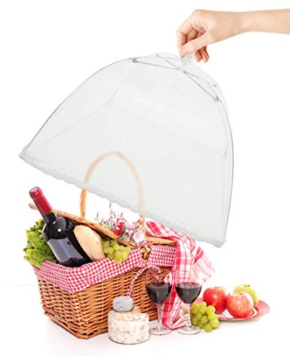 (4 Pack) Large Picnic Pop-Up Mesh Screen Food Cover Tents Keep Out Flies Bugs Mosquitoes Reusable Nets