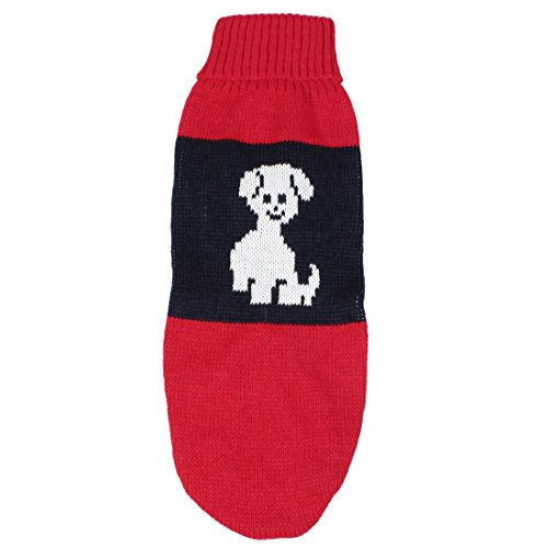 Turtleneck Hand Knit Dog Sweater Clothing Coat Puppy Doggy Apparel Dark Blue  and Red M