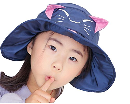 Price comparison product image Cute Cat Kids Anti-UV Sun Hat Foldable Visor Hat Children Bucket Hat Wide Brim Cap for kids Boys Girls