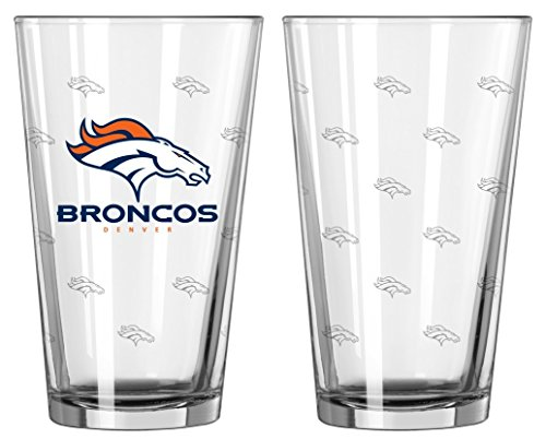 Denver Broncos Glass - Denver Broncos Satin Etch Pint Glass Set