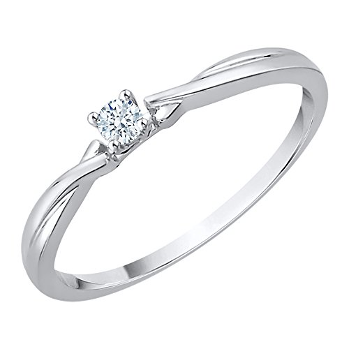 Diamond Promise Ring in Sterling Silver (1/10 cttw) (I-Color, SI3-I1 Clarity) (Size-8) by KATARINA