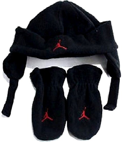 Nike Toddler Boys 2 Piece Fleece Hat & Mittens Set, Black & Red , Size 2/4t