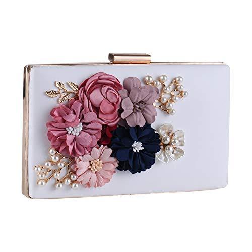 Bianca donna borsa e con Bianca catena Colore da Ofgcfbvxd Borsa sera sposa da pochette per da con fiore gqTC1