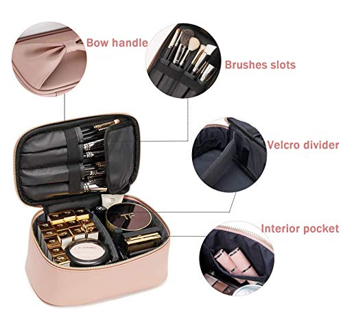 Rownyeon Makeup Bag for Women Girls Cute Portable Makeup Brushes Bag Bow-knot Cosmetic Case Toiletry Pouch Travel Kit Organizer Christmas Gift