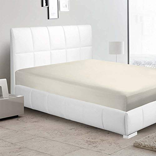 400 Thread Count 100 Percent Cotton Fitted Sheet King 15 Inch Deep Pocket Long Staple Cotton 1 Fitted Sheet Only Ivory Solid Soft Breathable Sateen Weave Elastic All Around The Mattress