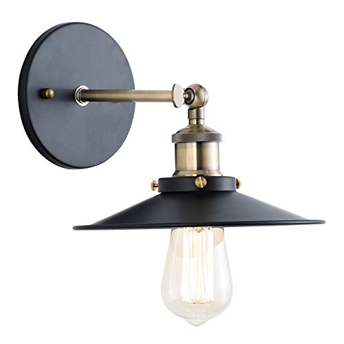 Light Society Cressley Wall Sconce, Matte Black with Brushed Bronze Finish, Vintage Modern Industrial Farmhouse Lighting Fixture (LS-W128)