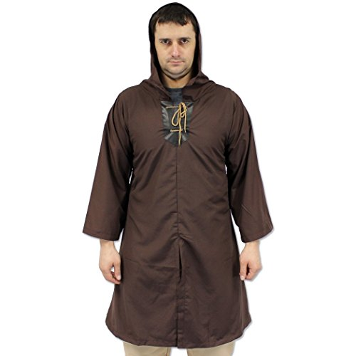 Renegade Thief's Hooded Robe Tunic Medieval Shirt Ren-Fair Brown Long Sleeve