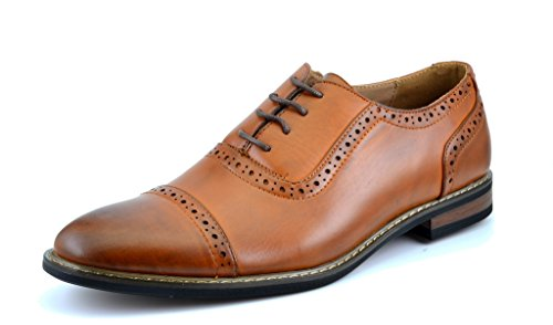 Bruno HOMME MODA ITALY PRINCE Men's Classic Modern Oxford Wingtip Lace Dress Shoes,PRINCE-5-BROWN,10.5 D(M) US
