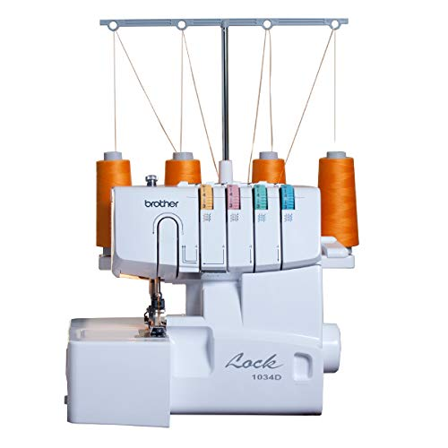Brother Serger, 1034D, Heavy-Duty Metal Frame Overlock Machine, 1,300 Stitches Per Minute, Removeable Trim Trap, 3…