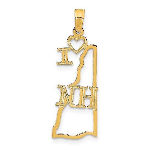 14K Yellow Gold Solid New Hampshire State Small Charm Necklace Pendant with 18