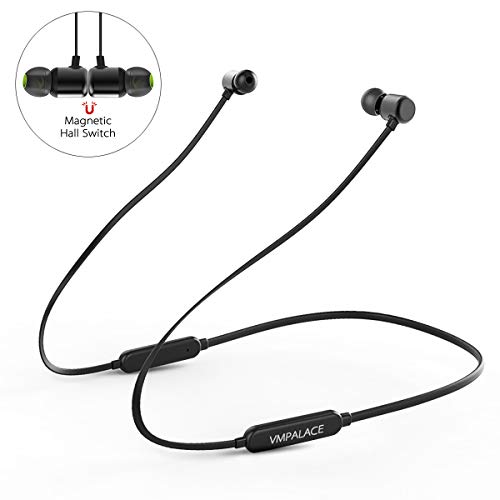 Bluetooth Headphones, VMpalace Best Wireless Sports Earphones with Mic IPX5 Waterproof HD Stereo Sweatproof Magnetic Earbuds for Gym Running Workout 8 Hour Battery Noise Cancelling Headsets