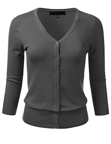 FLORIA Women's Button Down 3/4 Sleeve V-Neck Stretch Knit Cardigan Sweater Charcoal L ()