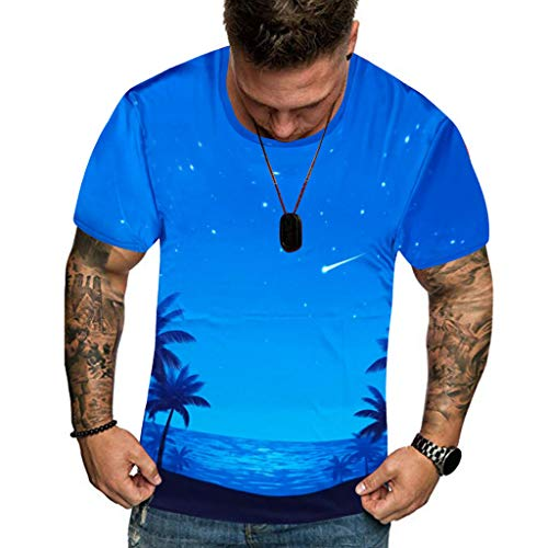 iHPH7 T-Shirt 3D Tees Superhero Fitness Shirt Summer New Full 3D Printed T Shirt Plus Size Cool Printing Top Blouse Men (L,1- Sky Blue)