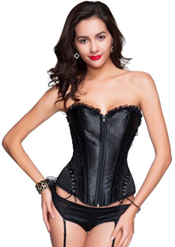 Zipper Front Zip Up Lace Up Lace Overbust Corset Bustier Top L (Zipper Front Lace Corset)