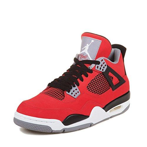 Nike Mens Air Jordan 4 Retro Toro Fire Red/Black Leather Basketball Shoes Size - Red Jordan 4