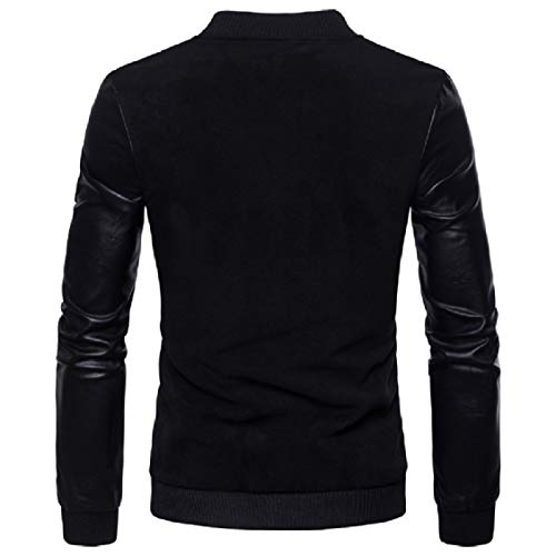 Energy Jacket Sleeves Mens Outwear Black Stand Faux Sized Up Leather Long Over Collar rrSnPzgWx