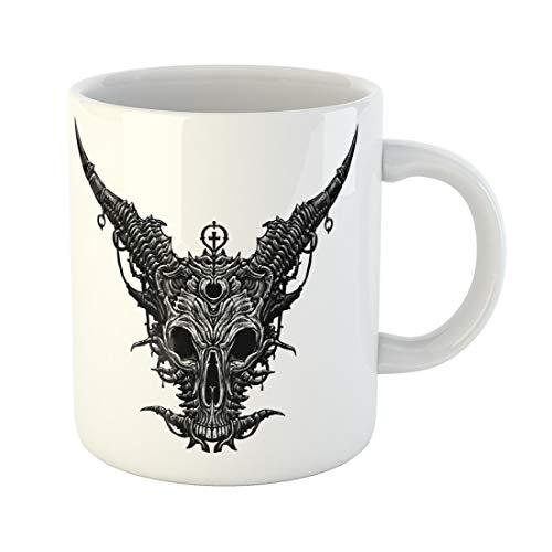 Emvency Funny Coffee Mug Demon Satan Goat Head Skull Mask Death 11 Oz Ceramic Coffee Mug Tea Cup Best Gift Or Souvenir ()