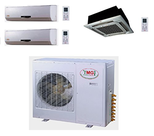 YMGI Tri Zone - 42000 BTU (9K+9K+24K) Wall Mount plus Ceiling Suspension Mini Split Air Conditioner with Heat Pump for Home, Office, Apartment with Free 25 Ft Lineset installation Kits