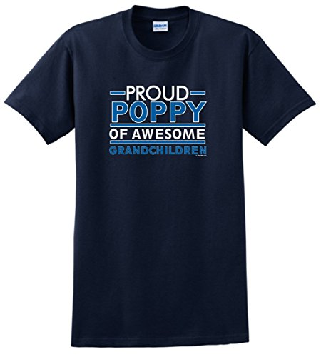 Grandpa Birthday Gifts Proud Poppy of Awesome Grandchildren T-Shirt XL Navy