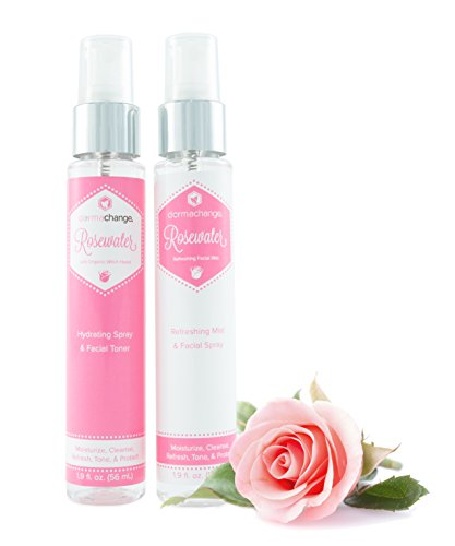 Hydrating Rosewater Spray for Face & Refreshing Toner Mist Set - with Organic Witch Hazel, Aloe Vera & Willow Bark - Anti Aging Facial Moisturizer and Pore Minimizer - Makeup Setting Spray (1.9 oz)