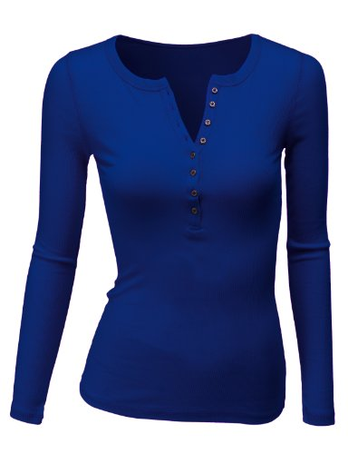 (Doublju Long Sleeve Thermal Henley T-Shirt for Women with Plus Size RoyalBlue Medium)