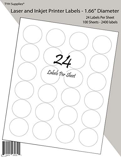 TYH Supplies High Visibility White Matte Printer Labels 1.66 Inch Diameter, 2400 Labels, Laser and Inkjet, Strong Adhesive, Compatible with Avery 5293 Template