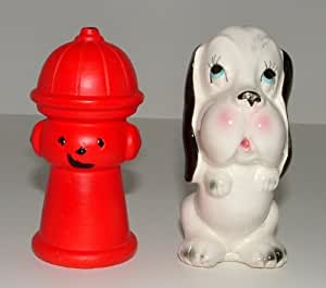 Vintage Porcelain Dog And Fire Hydrant Salt And Pepper Shakers