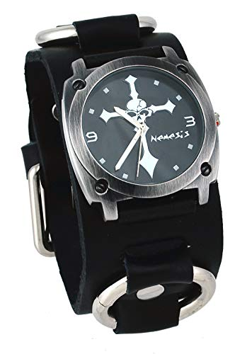 Nemesis #RBK927K Men's Tough Guy Skull Crucifixion Black Wide Leather Cuff Band ()