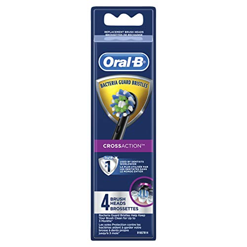 Oral-b Crossaction Electric Toothbrush Replacement Brush Head Refills, Black, 4 Count