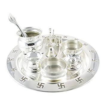 GoldGiftIdeas 9 Inch Swastik Silver Plated Pooja Thali Set Pooja Thali Decorative Plate Ideal  sc 1 st  Amazon.com : silver plate set - pezcame.com