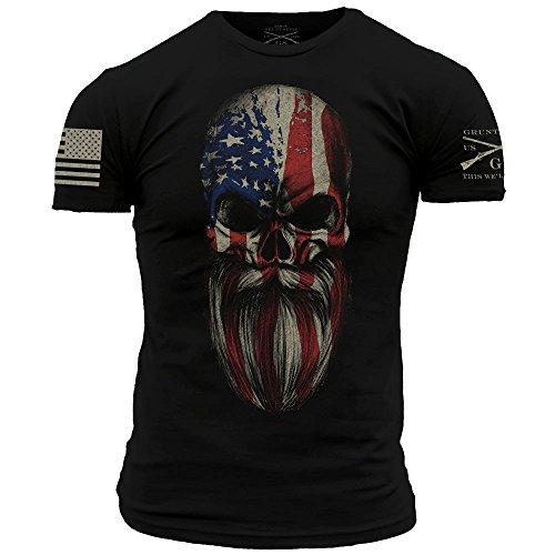 Grunt Style American Beard Skull Men's T-Shirt, Color Black, Size - In Beards Style