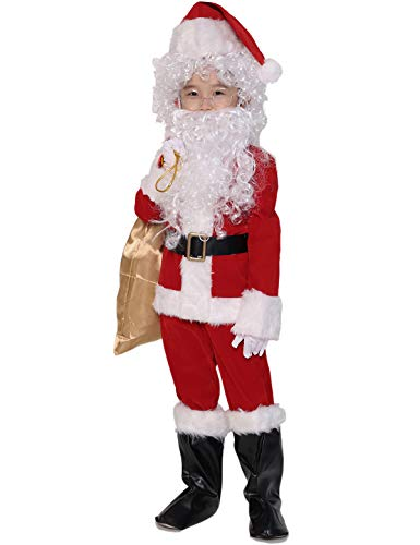 ADOMI Children's Deluxe Santa Suit 10pc. Christmas Child Santa Claus Kids Halloween Costume Cosplay M