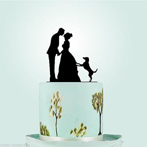 Bride Groom Family Dog Lab Pet Animals Veterinary Wedding Cake Topper Decoration by Diamond