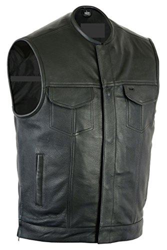 Gunmetal Leather Vest (Sunrise Outlet Upgraded Style Gun Pockets Hidden Gun Metal Zipper Vest - 5XL)