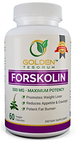 100% Pure Forskolin Extract for Weight Loss. Maximum Strength 500mg Coleus Forskohlii Supplement. Appetite Suppressant, Potent Fat Burner for Men and Women Made in USA
