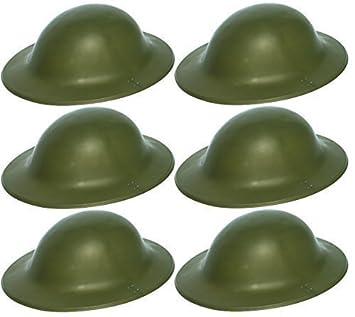 e621531f543 6 x Green British Army Soldier Helmet WWII World War 2 Tommy Fancy Dress  Costume Accessory