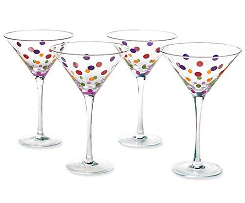 Martini Glasses Set of 4 8.5 oz Polka Dot Color Cocktail Dessert Margarita Glass