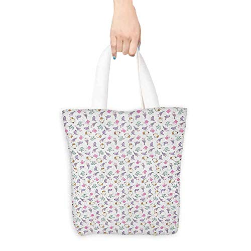 Canvas zipper tool bag Birthday Sketch Art Style Birds Cupcakes Baby Carriages and Tulip Flowers Newborn Theme Leisure travel bag 16.5