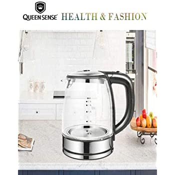 [Factory Store]QUEEN SENSE Electric Kettle Water Heater with SpeedBoil Tech, Glass Tea