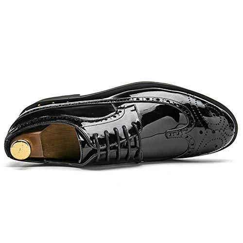 Oro De Hombre Eu Cuero Charol Tamaño Y Zapatos color Pulidos Para Plata 40 Oro Derby Qiusa Negro Plata v5q4Cwx